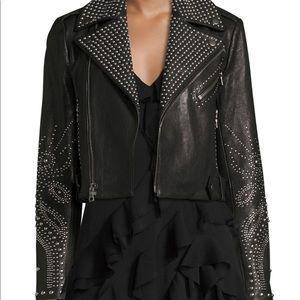 Alice and Olivia Cody Studded Leather Jacket XS